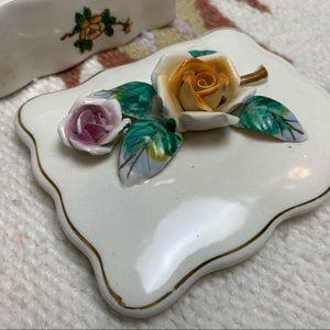 Vintage Accents - Vintage WWII Era Japanese Rose Floral Trinket Box